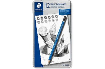 (Medium Degrees, Tin of 12) - Staedtler mars lumograph tin of 12 drawing pencils (6B to 4H) for design and drafting