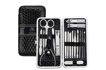 (Black) - Nail Clippers Set Manicure Pedicure Kit - Stainless Steel 18 in 1 Portable Travel Grooming Kit-Facial and Nail Care Tools for Men and Women (Black)