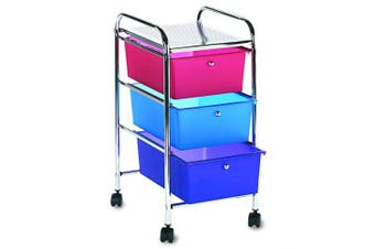 (3 Drawers, Multi-colored) - Storage Studios Home Centre Rolling Cart W/3 Drawers