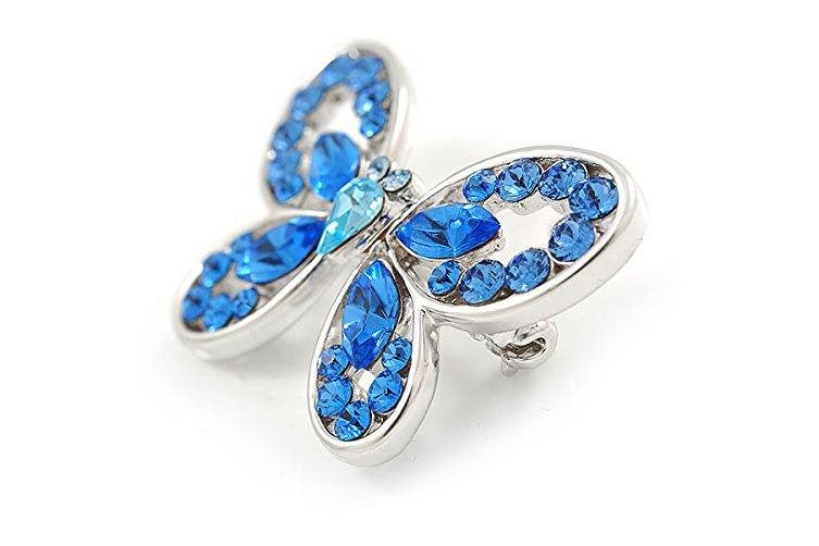Avalaya Small Blue Crystal Butterfly Brooch in Rhodium Plated Metal - 35mm L