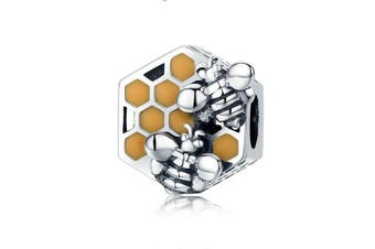 Bee Hive New Collection 925 Sterling Silver Honeycomb Honey Bee Square Charm Beads fit Women Bracelet DIY Jewellery Making