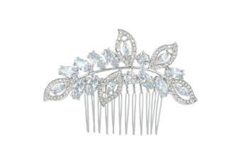 (Clear Silver-tone) - TENYE Women's Austrian Crystal Zirconia Bridal Wedding Floral Leaf Hair Comb Clear