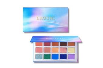 (EXOTIC PALETTE) - 15 Eye shadow Palette Prism Makeup Matte Shimmer Pop Purple Blue Pigmented Glitter Eyeshadow Palette Makeup Pallet Cosmetics