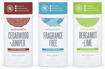(Variety 2) - Schmidt's Deodorant Stick Variety Pack (Cedarwood & Juniper, Fragrance-Free, Bergamot & Lime)