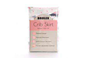 (crib bed skirt, Pink) - BROLEX Crib Bed Skirt Pleated,Neutral Organic Cotton, Nursery Crib Bedding for Baby Girls Boys,36cm Drop/Pink