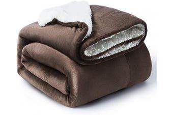 (Throw(130cm  x 150cm ), Brown) - BEDSURE Sherpa Fleece Blanket Throw Size Brown Plush Throw Blanket Fuzzy Soft Blanket Microfiber