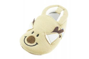 (3-6 Months) - Baby Girls Boys Animal Face Slippers Booties Pram Shoes Brown Christmas Reindeer 12 3-6 Months