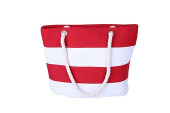 (Red) - THEE Beach Bag with Inner Zipper Pocket Canvas Tote with Rope Handles