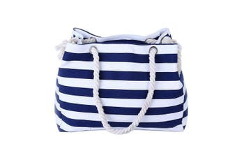 (Z-Navy blue) - THEE Beach Bag with Inner Zipper Pocket Canvas Tote with Rope Handles