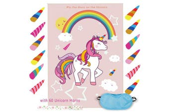 (1) - Pin the Horn on the Unicorn Game Birthday Party Favour Games Unicorn Party Supplies Unicorn Gifts,with 60 Horns (1)