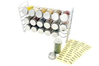 Amtido Chrome Spice Rack with 18 Empty Glass Spice Jars Bottles and 48 Spice Labels
