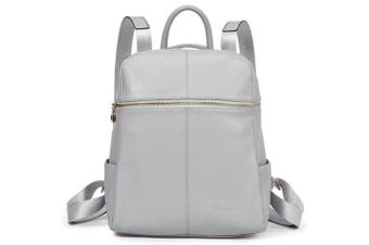 "(Medium(L)11.81"" x (W)5.91"" x (H)13.98"", 2-lightgray) - BOSTANTEN Women Backpack Genuine Leather Rucksack Ladies Casual Daypacks School Bag Purse LightGray"
