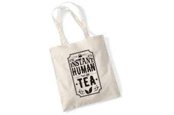 (Sand) - Tote Bags For Women Instant Human Just Add Tea Printed Cotton Shopper Bag Gifts