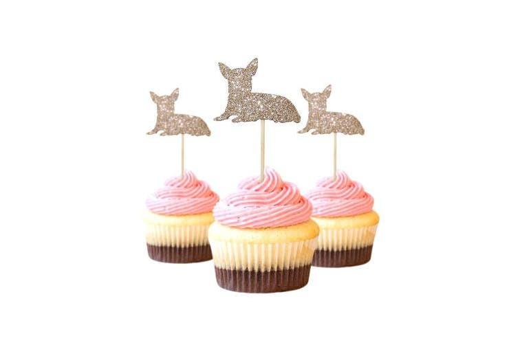 Chihuahua Cupcake Topper Glitter Foamy Beige Colour 12 pieces per Pack Decoration pet birthday
