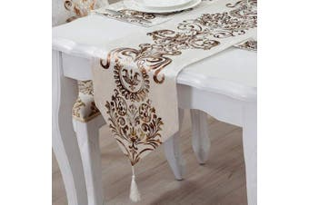 (Style 8 Creamy White) - OZXCHIXU TM Modern Jacquard Floral Classic Table Runner with Tassles,Ideal for Kitchen Coffee Dining, Gift, Celebration Party, Wedding,Christmas Decoration. (33cm x 190cm Creamy White)