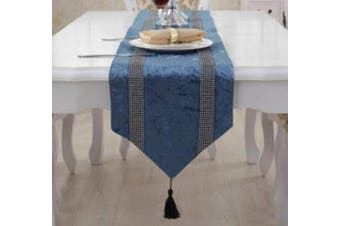 (Style 7 Blue) - OZXCHIXU TM Sequined Elegant Tassel Both Rhinestone Strip Contracted Classic Coffee Table Wedding Reception Table Runner Party Valentine's Day Dinner Banquet Decorative Tapestry 33cm x 190cm Blue.
