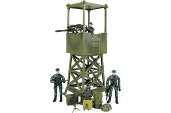 Click N' Play Military Lookout Watch Tower 16 Piece Play Set With Accessories.