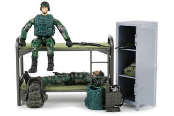 Click N' Play Military Life Living Quarters Bunk Bed 14 Piece Play Set With Accessories.