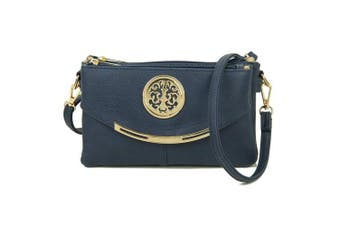 (Navy) - Craze London NEW Womens Small Clutch Bags with Wristlet and Long Adjustable Strap,Adjustable strap With Purse or small Shoulder bag