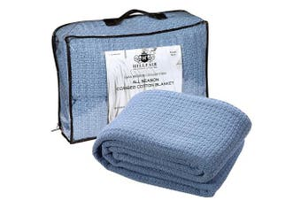 (Queen, Blue) - HILLFAIR 100% Soft Premium Combed Cotton Thermal Blanket– Queen Blankets– Soft Cosy Warm Cotton Blanket– Bed Throw Blanket– Queen Bed Blankets– All Season Cotton Blanket– Blue Queen Cotton Blankets