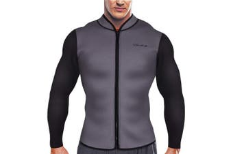 (XXXX-Large, Grey) - CtriLady Men's Best Neoprene Wetsuit Jacket Front Zipper Long Sleeves Workout Tank Top for Swimming Snorkelling Surfing