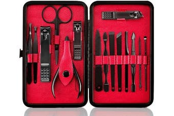 ((Black&red)) - Professional Manicure Pedicure Set Nail Clipper -15 Piece Stainless Steel Heavy Duty Nail Care Aids -Fingernail Clippers,Toenail Clippers -Portable Travel & Grooming Kit Tools -Deluxe ((Black & Red))