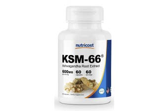 (60 Caps) - Nutricost KSM-66 Ashwagandha Root Extract 600mg, 60 Veggie Caps - High Potency 5% Withanolides - With BioPerine - Organic Full-Spectrum Root Extract