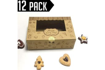 (Treat Boxes) - Chilly Treat Pastry and Cookie Box With Window, Decorative Homemade Bakery Muffins Chocolate Brownies Gift Boxes, 8.9x 5.18cm x 6.1cm , Pack of 12 (Treat Boxes)