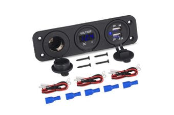 (3 Way Blue) - WATERWICH 3 Hole Marine Ignition Toggle Rocker Switch Panel Waterproof with Digital Voltmeter 3.1A Dual USB Charger Cigarette Lighter Socket for RV Car Boat Vehicles Truck Yacht (3 Way Blue)