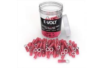 (150 PCS, #10) - E-VOLT 150 PC Red Heat Shrink Ring Crimp Connectors: Sizes: #10, 0.6cm , 0.8cm , 1cm . Gauge 22 20 18 16 Bulk Electrical Terminals - Insulated 22-16 AWG Automotive, Marine, Audio