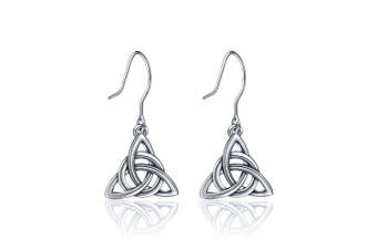 AEONSLOVE Women 925 Sterling Silver Irish Triquetra Celtic Knot Claddagh Vintage Drop Dangle Earrings