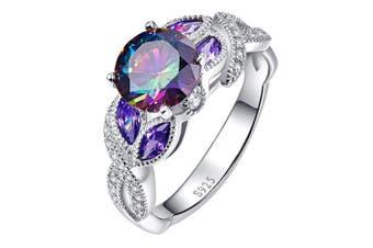 (T 1/2) - Bonlavie 3.6ct Rainbow Topaz Blue Sapphire Promise Wedding Band Engagement Ring 925 Sterling Silver