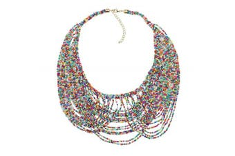 (Mix) - BOCAR Multi Layer Statement Necklace Colourful Beaded Collar Bib Soiree Necklace for Women Gift (NK-10490)