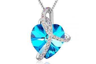 (Blue) - Angelady Pink Heart Pendant Necklaces for Women Crystal from , Womens Necklace with Cubic Zircon Diamonds Valentine's Day for Daughter Mum Wife Girlfriend