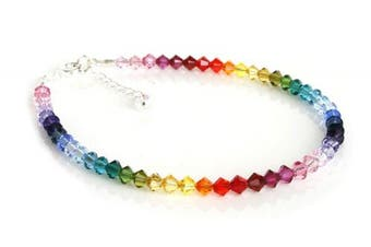 (9.5 inches) - Dent Designs Sterling Silver and Rainbow Crystal Handmade Anklet Made With Elements