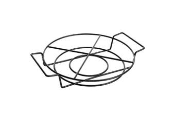 (4 Section Tidbit Dish) - Gibson Elite 98761.02R Luxembourg Handpainted 4 Section Tidbit Dish with Metal Rack, Blue and Cream w/Floral Designs