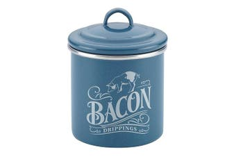 (Twilight Teal) - Ayesha Collection Enamel on Steel Bacon Grease Can, 10cm by 10cm , Twilight Teal
