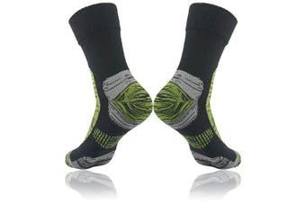 (Small, Black&Grass Green-1 Pair) - 100% Waterproof Breathable Socks, [SGS Certified] RANDY SUN Unisex Sport Climbing Skiing Trekking Hiking Socks