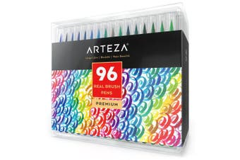 (96 Colors) - Arteza Real Brush Pens, 96 Paint Markers with Flexible Brush Tips, Professional Watercolour Pens for Painting, Drawing, Colouring with Water Brush, 100% Nontoxic