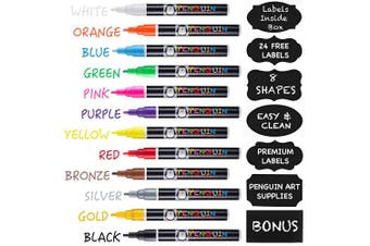 Professional Artist Quality Fine Tip Chalk Markers - Set of 12 Colour Liquid Pens Dry Erase + BONUS 24 Chalkboard Stickers