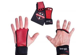 (Small, Red - Full Grain Leather) - Gymnastics Grips - Crossfit Gloves - Workout Gloves with Wrist Wraps - Weight Lifting Gloves - Gym Gloves for Pull Up - Fitness Hand Grips - Callisthenics Equipment -Fits Men, Women, Girls, Boys