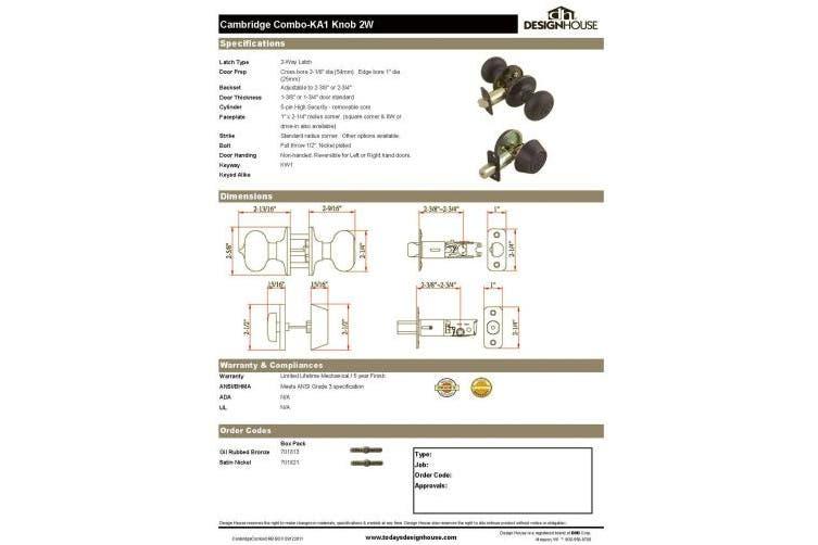 (Entry & Deadbolt, Oil-Rubbed Bronze) - Design House 701813 Cambridge 2-Way Latch Deadbolt and Entry Door Knob, Adjustable Backset, Oil Rubbed Bronze Finish