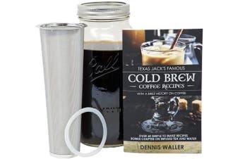 (Cold Brew Coffee Maker) - Cold Brew Coffee Maker Kit |Large 1.9l/Half Gallon|130pg 60+ Recipes and Instruction Book! Quality Ball Wide Mouth Mason Jar & Stainless Filter Basket. Makes Coffee, Infused Water & Tea!