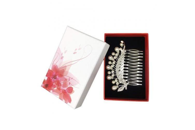 (Perle) - Txian Wedding Bridal Flower Crystal Rhinestones Hair Comb Clip (Perle)