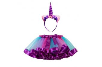 (S, Purple) - Fenical Unicorn Horn Headband Rainbow Tutu Skirt Kids Girls Unicorn Costume Set - Size S (Hairband and Skirt)(Purple)