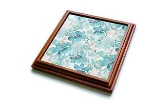 (20cm  by 20cm ) - 3dRose trv_276335_1 Turquoise Watercolour Flower Pattern Trivet with Tile, 20cm by 20cm