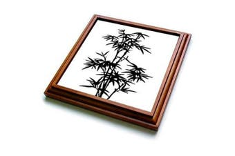 (20cm  x 20cm ) - 3dRose trv_268493_1 Black and White Bamboo Graphic Trivet with Tile, 20cm x 20cm