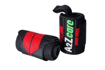 (Red - 20 inches) - A2ZCARE Wrist Wraps by Premium Wrist Straps Support Braces 14 and 50cm for Weight Lifting, Powerlifting, Strength Training