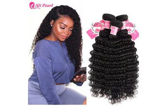 (18 20 22) - Ali Pear Deep Wave Hair Weave 3 Bundles Unprocessed Brazilian Virgin Human Hair Deep Curly Bundles Hair Extentions(18 20 22)