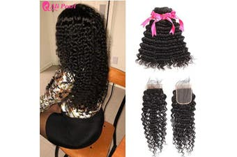 "(14 16 18+12"" 4x4 closure) - Deep Wave Hair 3 Bundles With 4x4 Lace Closure Ali Pearl Deep Wave Brazilian Human Hair Deep Curly Hair Extentions (14 16 18+12 closure)"